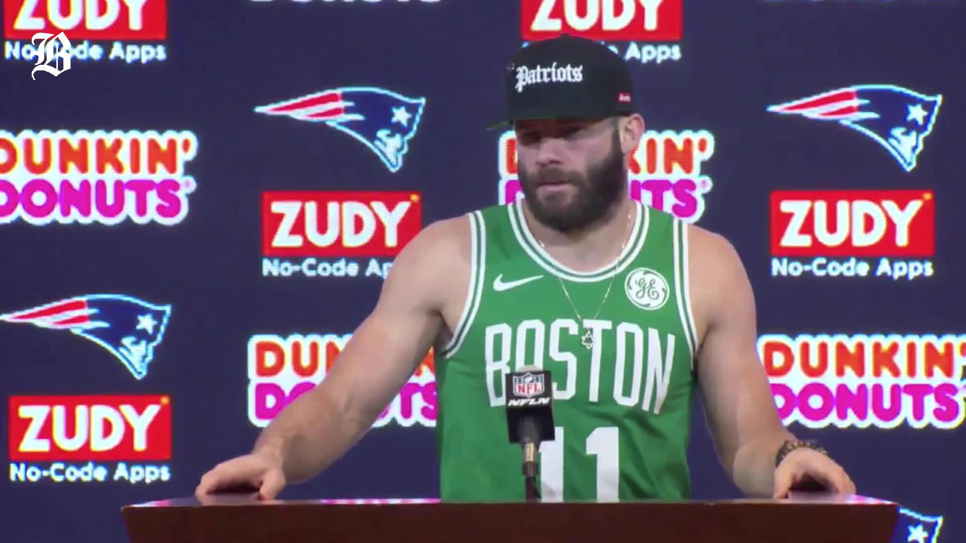 the best attitude 0ecae a93c7 Kyrie Irving wants to get a Julian Edelman jersey with his ...